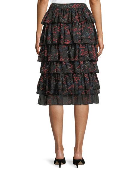 Co Tiered Floral-Print Silk Chiffon Skirt