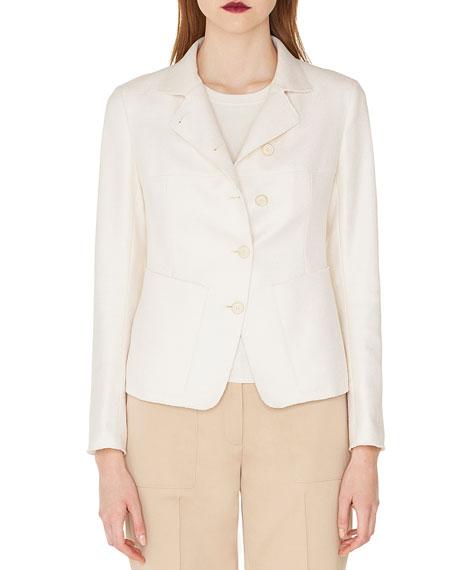 Akris Samir Button-Front Silk-Cashmere Short Jacket