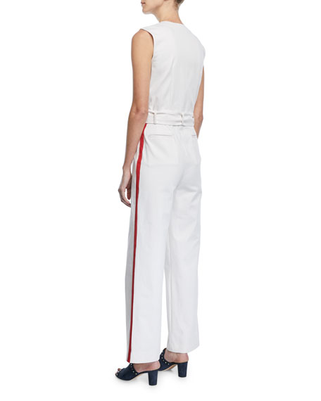 Sleeveless Zip-Front Racer-Stripe Belted Cotton Jumpsuit