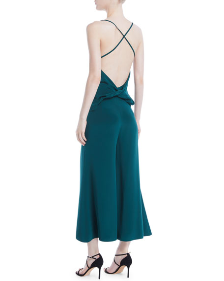 CUSHNIE Halter-Neck Sleeveless Drape-Back Wide-Leg Silk Jumpsuit