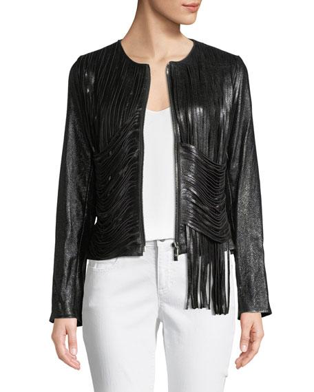 Nour Hammour Zip-Front Draped-Fringe Lamb Leather Jacket