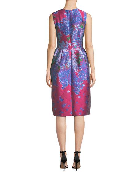 Sleeveless Full-Skirt Floral-Brocade Tea-Length Dress