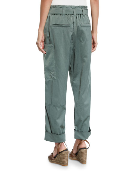 Brunello Cucinelli Straight-Leg Satin Pants w/ Wooden D-Ring Belt