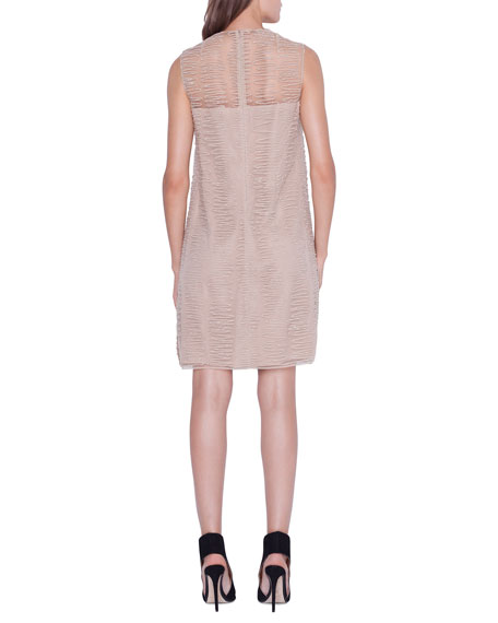 Image 2 of 3: Akris Sleeveless Scribble-Embroidered Tunic Dress