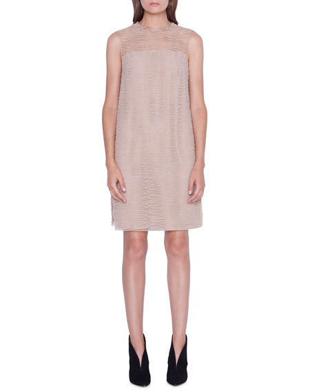 Image 1 of 3: Akris Sleeveless Scribble-Embroidered Tunic Dress