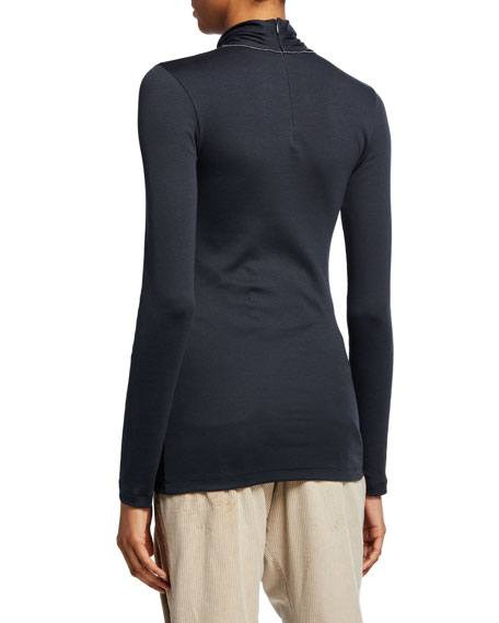 Brunello Cucinelli Long-Sleeve Cotton Rib Turtleneck Top w/ Back Zip