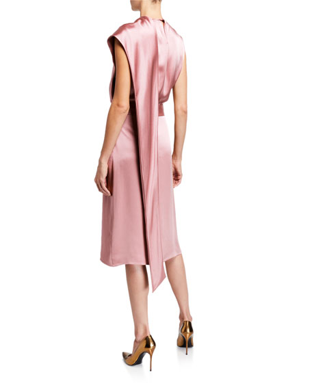 Sally LaPointe Satin Scarf-Neck Dress, Pink