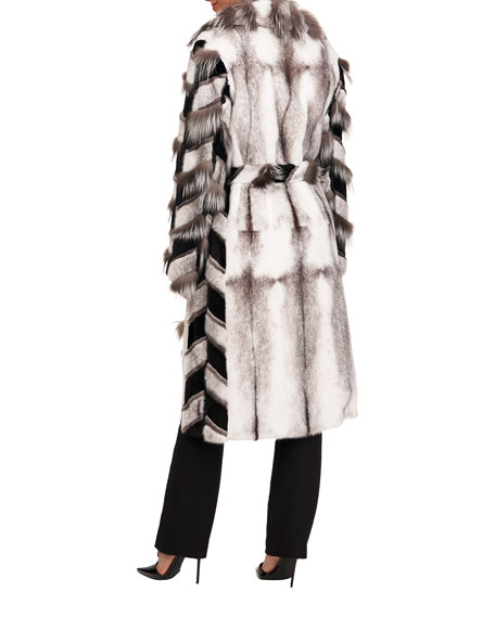 Image 2 of 4: Burnett Mink Short Coat w/ Fox Intarsia Sleeves