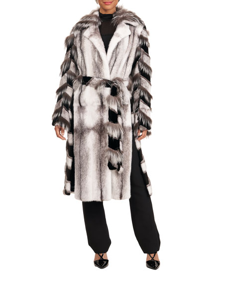Image 3 of 4: Burnett Mink Short Coat w/ Fox Intarsia Sleeves
