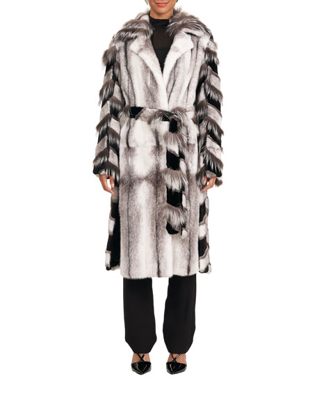 Image 4 of 4: Burnett Mink Short Coat w/ Fox Intarsia Sleeves