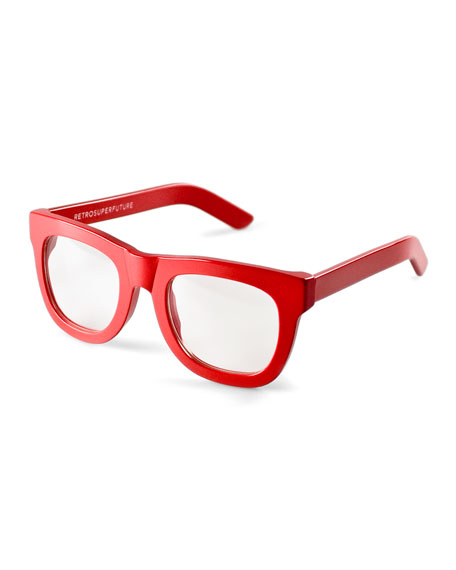 Super by Retrosuperfuture Ciccio Thick-Frame Fashion Glasses, Red ...