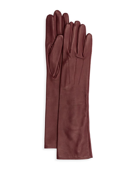 Lanvin Silk-Lined Long Leather Gloves