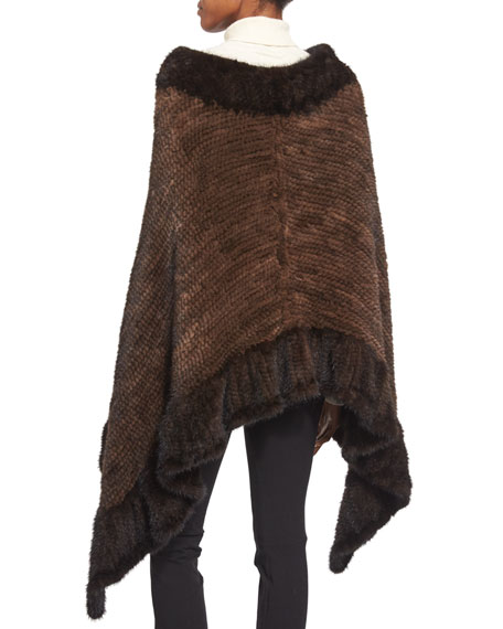 Asymmetric Fur Poncho w/Rosette, Brown