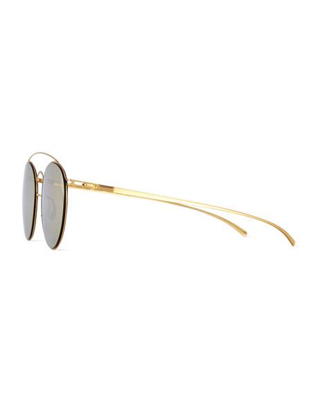 Round Stainless Steel Double-Bridge Sunglasses