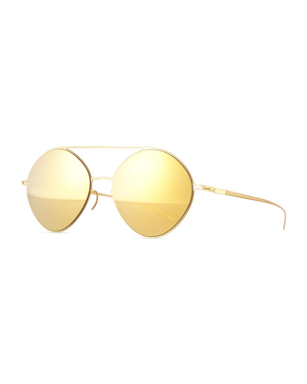 810bb59fdc MYKITA + Maison Margiela Round Mirrored Stainless Steel Sunglasses ...