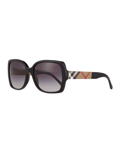 Gradient Check-Temple Square Sunglasses  Black