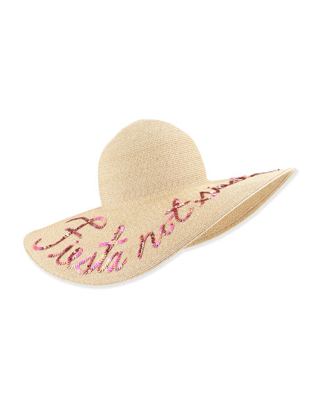 Bunny Embroidered Sun Hat, Sand/Pink