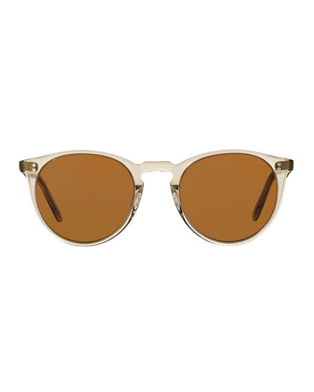 O'Malley NYC Peaked Round Sunglasses, Olive