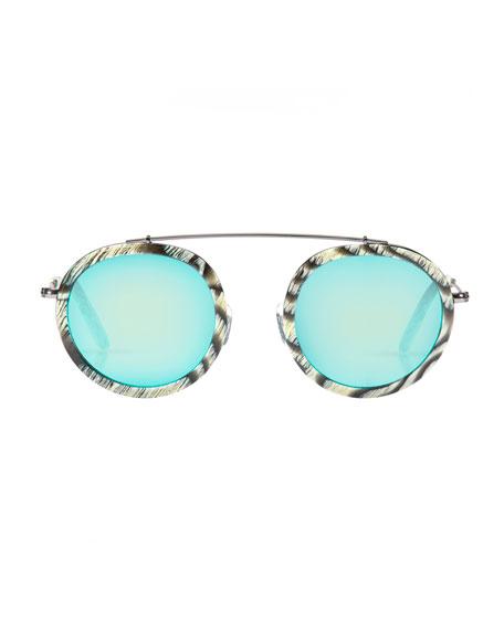 Conti Mirrored Round Aviator Sunglasses, Bone