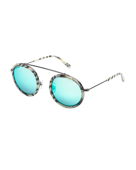 KREWE Conti Mirrored Round Aviator Sunglasses, Bone