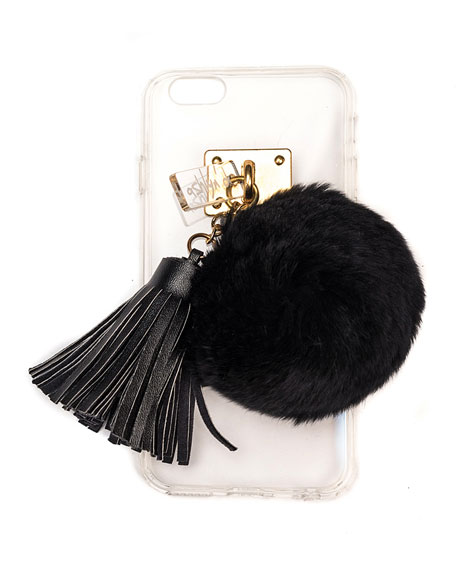Transparent iPhone 6 Case w/ Fur Pompom, Black