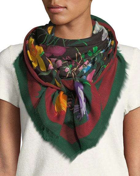 Gucci Flora Web Wool & Silk Shawl