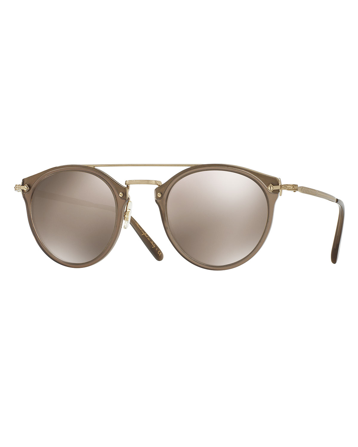 e708487c4f Oliver Peoples Remick Mirrored Brow-Bar Sunglasses