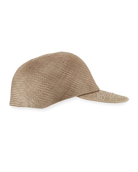 Straw Leather-Trim Baseball Cap