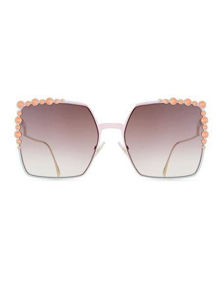 Can Eye Studded Oversized Square Sunglasses, Pink