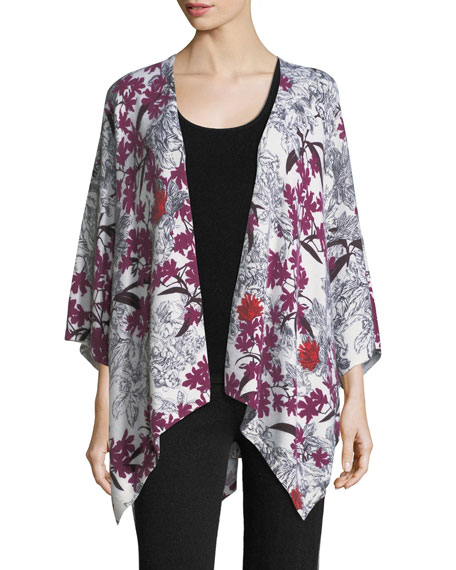 Cashmere Floral-Print Open-Front Shawl Kimono