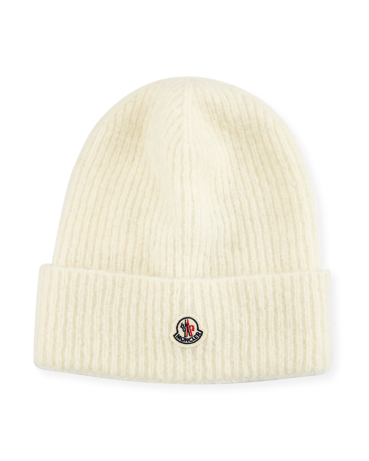 Moncler Slouchy Ribbed Logo Beanie Hat  a873bb262c7