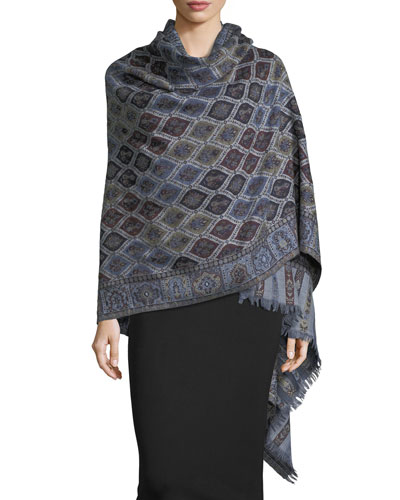 Cosmo Clover Wool Shawl  Navy
