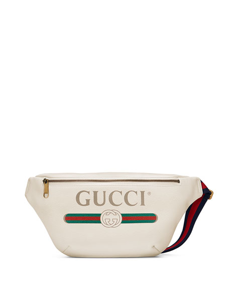 Logo-Print Leather Belt Bag