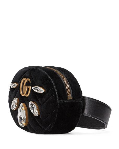 GG Marmont Small Quilted Velvet Belt Bag