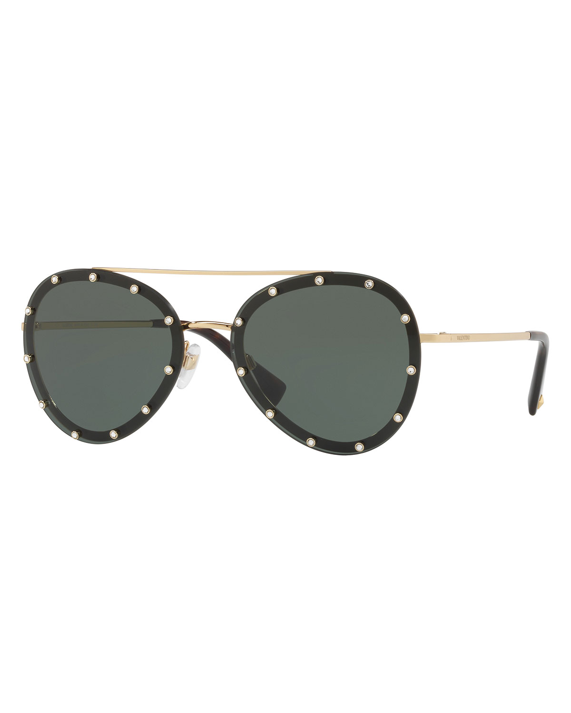 763ed000941e0 Valentino Studded Aviator Sunglasses