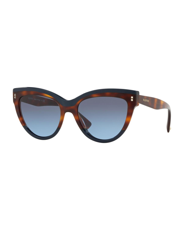 c9a7e8a85c8 Valentino Rockstud Rivet Two-Tone Cat-Eye Sunglasses