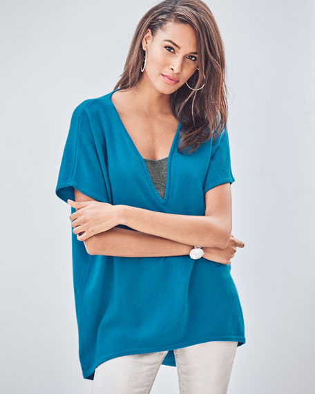Neiman Marcus Cashmere Collection Cashmere V-Neck Poncho Top with Chain Detail