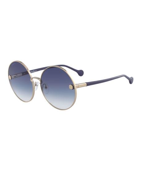 2dafe34125 Salvatore Ferragamo Fiore Rimless Cat-Eye Sunglasses w  Crystal ...