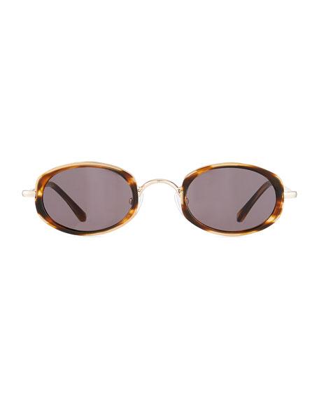 Illesteva Ravello Oval Acetate & Metal Sunglasses