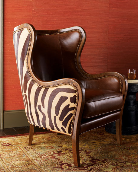 Massoud Chocolate Zebra Wing Chair