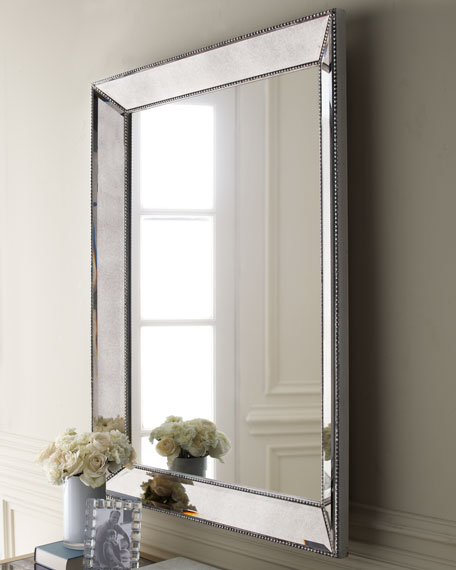"Beaded Wall Mirror, 36.5""W"