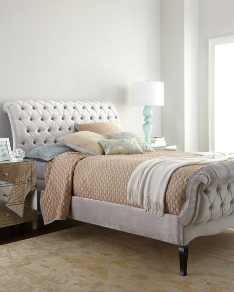 Silver Tufted King Bed