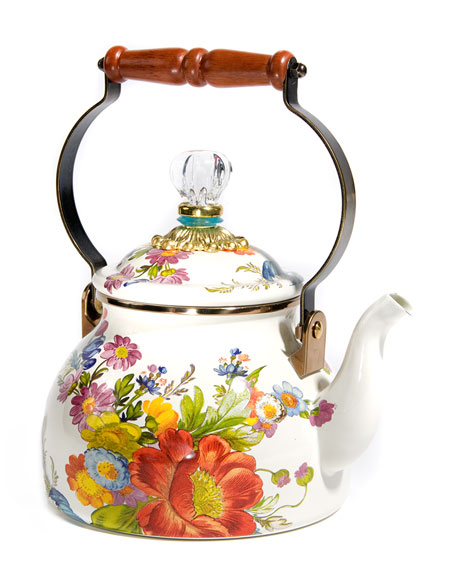 MacKenzie-Childs Flower Market White Two-Quart Tea Kettle