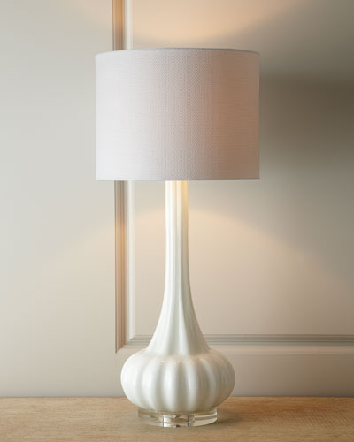White Rippled Glass Lamp