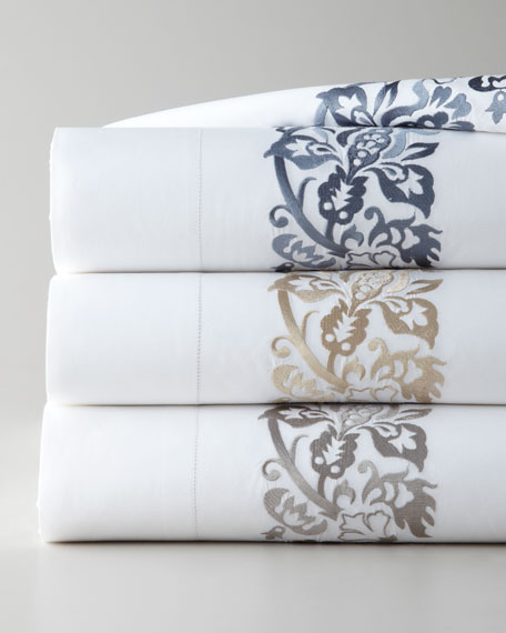 Full/Queen 406TC Plumes Embroidered Flat Sheet