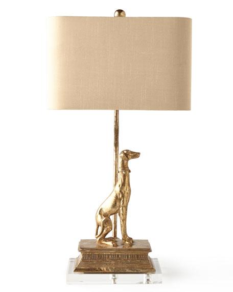 Left Regal Dog Table Lamp
