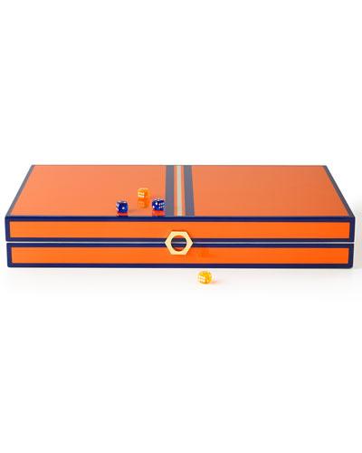 Orange Lacquer Backgammon Set