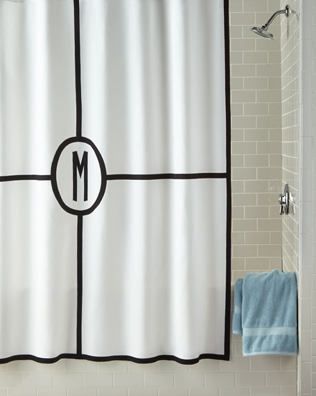 Matouk Parterre Monogrammed Shower Curtain
