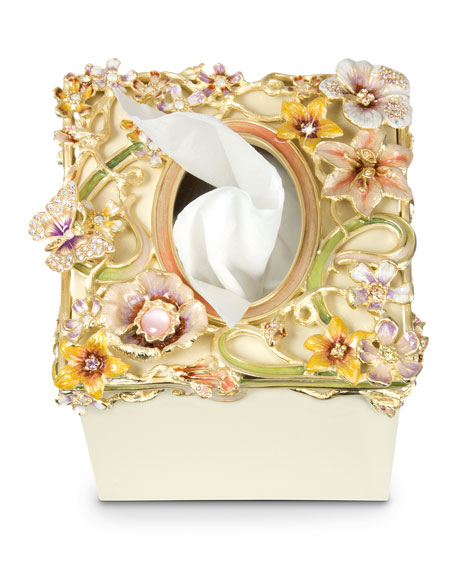 Hartley Cream Floral Scroll Tissue Box Cover