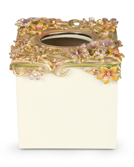 Jay Strongwater Hartley Cream Floral Scroll Tissue Box